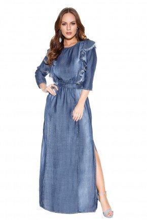 vestido longo desfiado babado frente