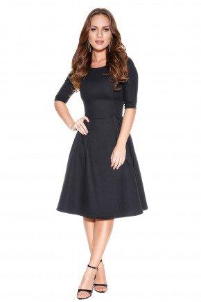 vestido preto evase titanium frente