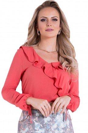 blusa manga longa laranja babado amarracao laura rosa frente