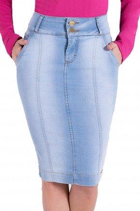 saia lapis jeans claro laura rosa detalhes1 frente