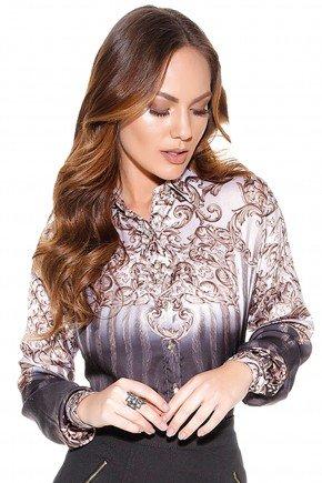 camisa arabescos cinza titanium frente