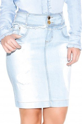 saia jeans clara lavagem titanium detalhes1 frente