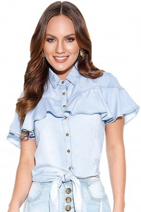 blusa jeans babado amarracao titanium frente