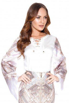 camisa manga flare arabescos ilhoses titanium frente