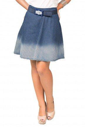 modelo cabelo castanho saia jeans xadrez azul detalhe dyork1