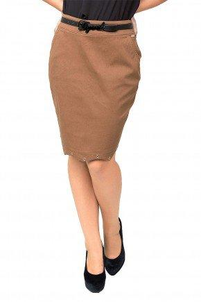 modelo cabelo castanho saia marrom jeans detalhe ilhos dyork1