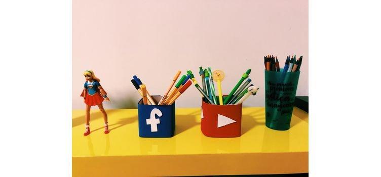 Faça Você Mesmo: Porta Lápis Facebook e YouTube