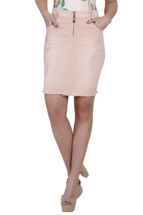 modelo saia jeans rosa curta titanium