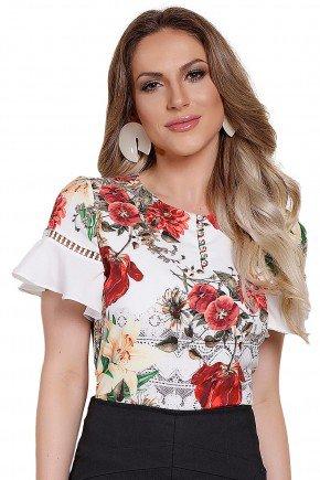 modelo blusa babado floral frente titanium