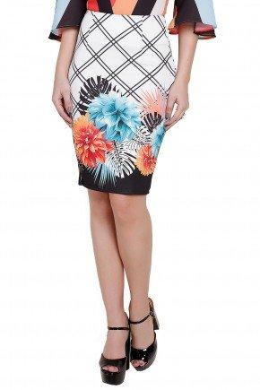 modelo saia lapis estampada floral xadrez frente titanium