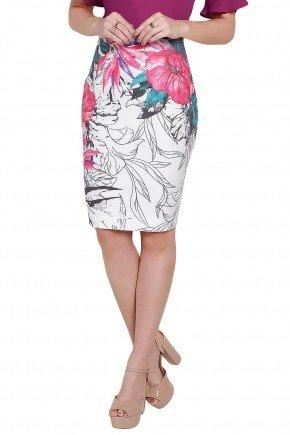 modelo veste saia lapis estampa floral folhagem titanium frente perto
