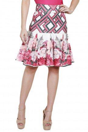 saia justa branca com pregas estampa floral e geometrica costas