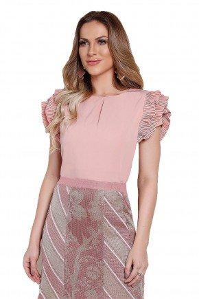 modelo blusa rosa plissado manga titanium
