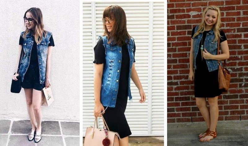 blog moda colete jeans vestido preto