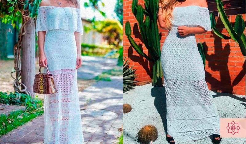 vestido longo branco de trico