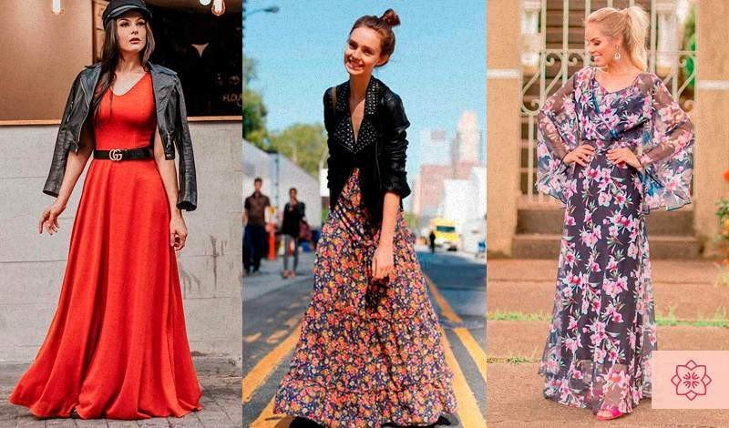 blogueiras vestem vestido longo vermelho vestido longo estampado