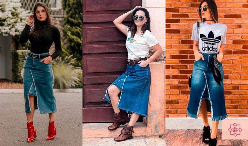 saia midi jeans super estilosa linda