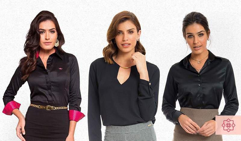 camisa feminina social preta da marca principessa