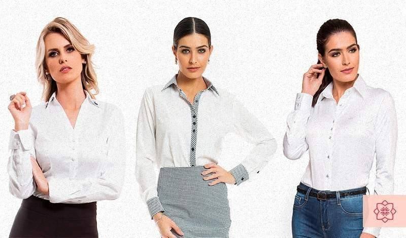 camisa social feminina branca da marca principessa