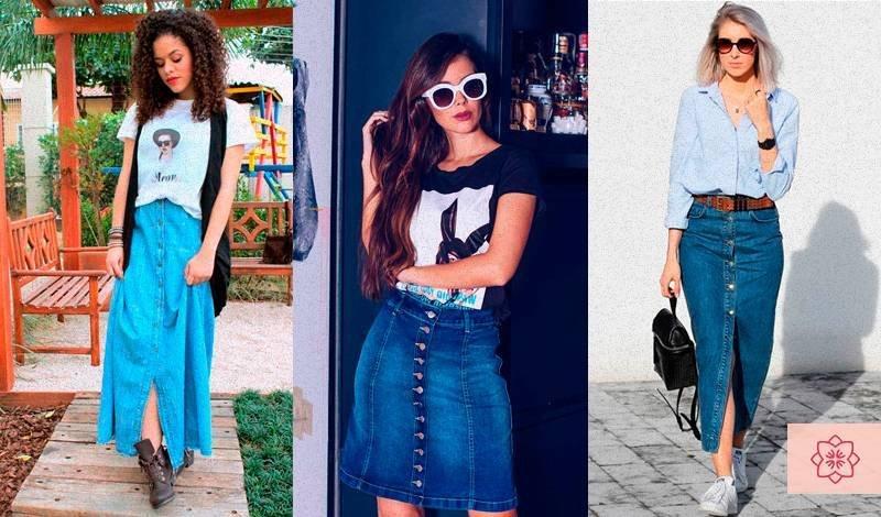saia longa jeans com botoes