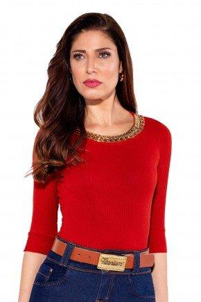 24182 modelo cabelo castanho blusa malha vermelha frente cima titanium