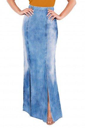 24087 modelo cabelo castanho saia longa jeans frente baixo titanium