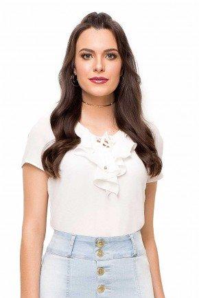 modelo cabelo castanho blusa branca babados busto laura rosa frente cima lr89130