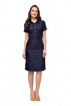 modelo cabelo castanho vestido jeans gola polo azul marinho laura rosa frente lr89129