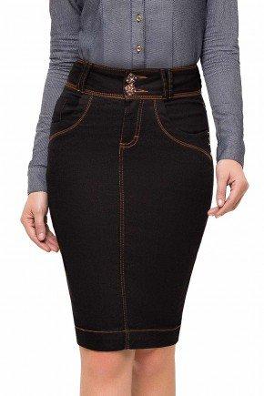 modelo cabelo castanho saia cintura alta azul marinho laura rosa frente baixo lr89110
