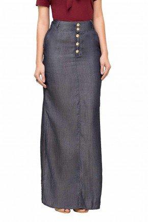modelo cabelo castanho saia longa jeans detalhe botoes laura rosa frente baixo lr89114