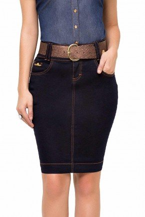 modelo cabelo castanho saia tradicional jeans azul marinho laura rosa frente baixo lr89119