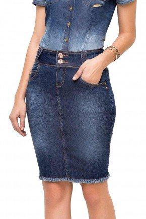 modelo cabelo castanho saia jeans desfiado barra laura rosa frente baixo lr89118