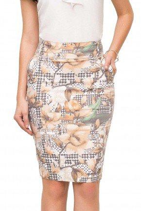 modelo cabelo castanho saia cintura alta estampa pied poule floral laura rosa frente baixo lr89113