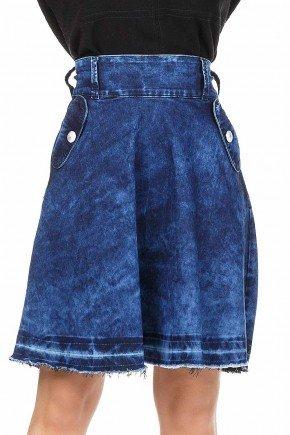 modelo cabelo loiro saia jeans evase mullet cintura alta dyork frente baixo dk4245