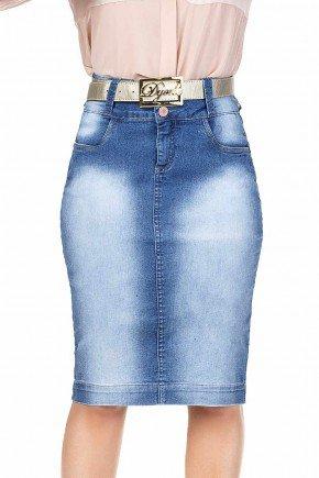 modelo cabelo loiro saia jeans azul claro midi dyork frente baixo dk4398