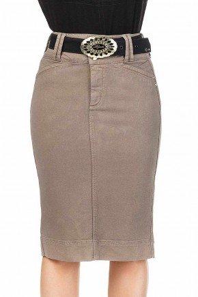 modelo cabelo loiro saia jeans cinza midi dyork frente baixo dk4407