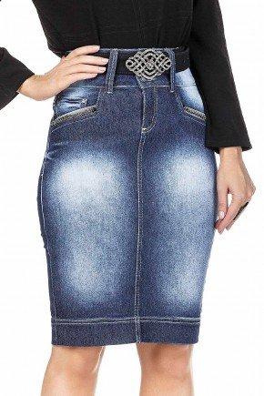 modelo cabelo loiro saia jeans lapis com aplicacoes no bolso dyork frente baixo dk4540
