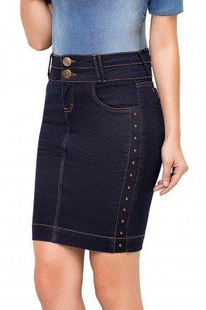 modelo cabelo castanho saia azul escuro jeans pesponto laterais laura rosa frente baixo lr89122a