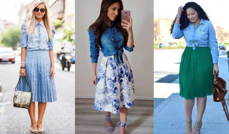 blog post camisa saia jeans plissada