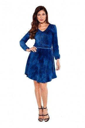 24202 modelo cabelo escuro vestido gode azul marinho em malha jeans frente