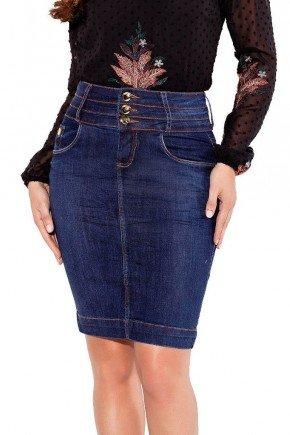 24142 modelo cabelo escuro saia jeans azul escuro cos triplo frente baixo