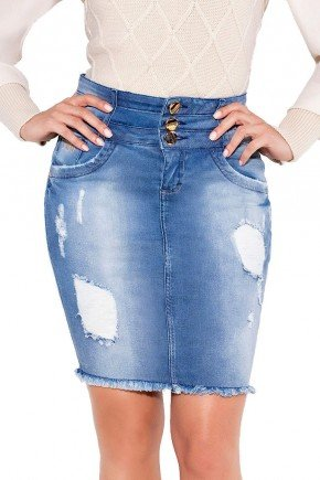 24155 modelo cabelo escuro saia jeans destroyed barra desfiada frente baixo