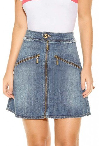 saia jeans evase ziper frontal desfiados no cos frente baixo