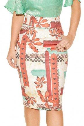 saia sarja lapis midi estampa floral abstrata cintura alta frente baixo