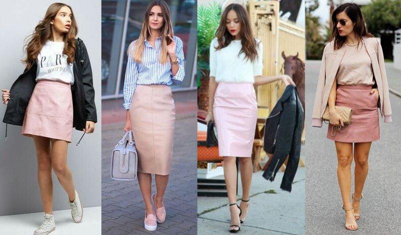 modelo saia couro rosa moda evangelica