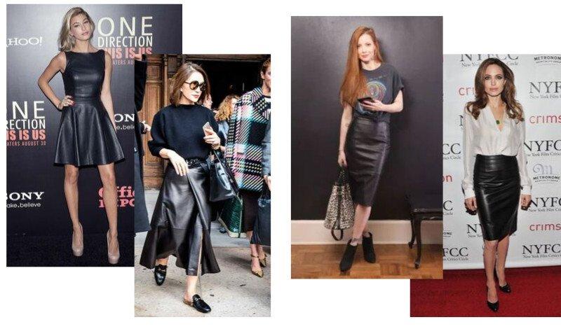 modelo saia e vestido couro preto moda evangelica