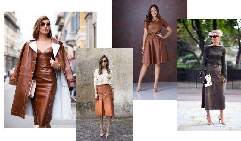 modelo vestido e saia couro marrom moda evangelica