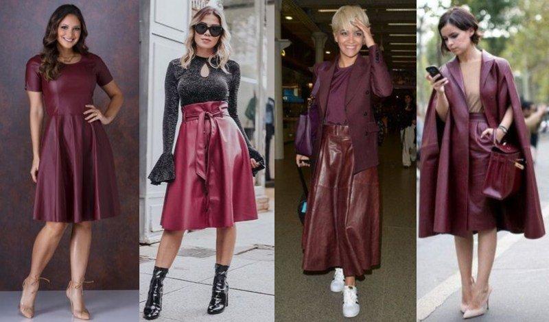 modelo vestido e saia couro marsala moda evangelica