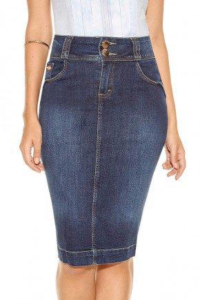 modelo cabelo castanho saia jeans lapis midi azul escuro frente baixo