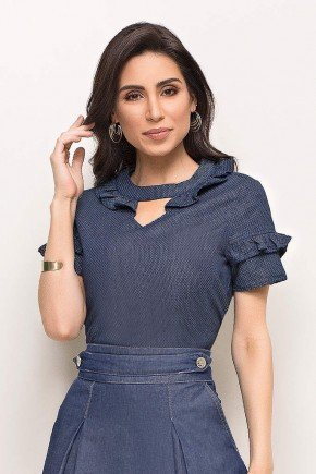 blusa azul escuro com babados em liocel laura rosa frente cima